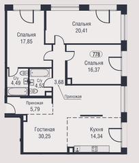 МФК «AFI Park Воронцовский», планировка 4-комнатной квартиры, 117.70 м²