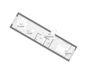 ЖК «Архитектор», планировка 1-комнатной квартиры, 55.00 м²