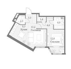 ЖК «Архитектор», планировка 2-комнатной квартиры, 49.90 м²
