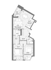 ЖК «Архитектор», планировка 3-комнатной квартиры, 87.60 м²