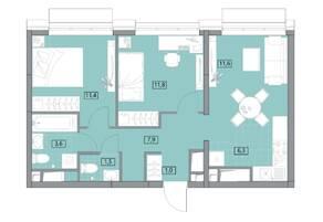 ЖК «Вестердам», планировка 3-комнатной квартиры, 55.08 м²