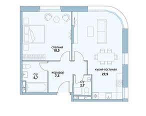 ЖК «Символ», планировка 2-комнатной квартиры, 62.10 м²