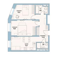 ЖК «Символ», планировка 2-комнатной квартиры, 60.00 м²