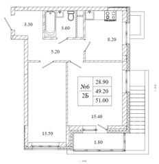 ЖК «Малаховский квартал», планировка 2-комнатной квартиры, 51.00 м²