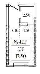 ЖК «Видный берег 2», планировка студии, 17.50 м²