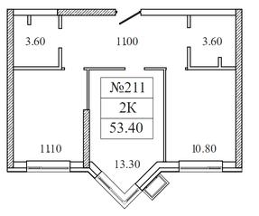 ЖК «Видный берег 2», планировка 2-комнатной квартиры, 53.80 м²