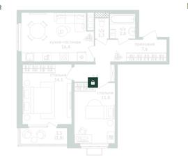 ЖК «Зеленая вертикаль», планировка 2-комнатной квартиры, 59.20 м²