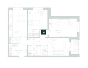 ЖК «Зеленая вертикаль», планировка 3-комнатной квартиры, 78.70 м²