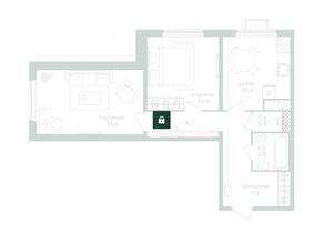 ЖК «Зеленая вертикаль», планировка 2-комнатной квартиры, 55.30 м²