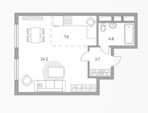 ЖК «Бригантина», планировка студии, 40.30 м²