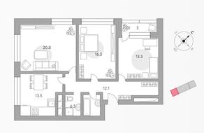 ЖК «Бригантина», планировка 3-комнатной квартиры, 85.50 м²
