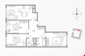ЖК «Бригантина», планировка 4-комнатной квартиры, 76.20 м²