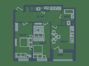 ЖК Светлый мир «Станция «Л», планировка 2-комнатной квартиры, 70.70 м²
