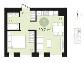 ЖК «Первый квартал», планировка студии, 30.70 м²