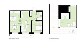 ЖК «Первый квартал», планировка 1-комнатной квартиры, 126.30 м²