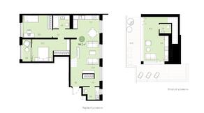 ЖК «Первый квартал», планировка 2-комнатной квартиры, 144.20 м²