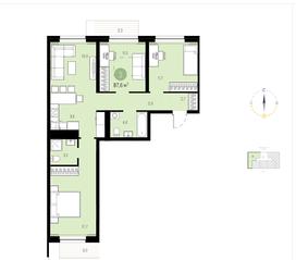ЖК «Первый квартал», планировка 3-комнатной квартиры, 87.60 м²