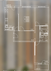 ЖК «Мир Митино», планировка 3-комнатной квартиры, 75.83 м²