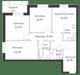 ЖК «Аквилон Митино», планировка 4-комнатной квартиры, 84.34 м²