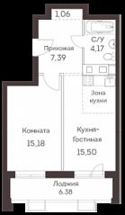 ЖК «Аквилон Митино», планировка 2-комнатной квартиры, 46.17 м²