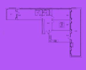 ЖК «Резиденция Май», планировка 3-комнатной квартиры, 111.20 м²