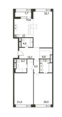 ЖК «Садовые кварталы», планировка 3-комнатной квартиры, 145.85 м²
