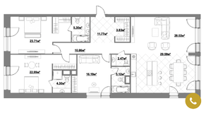 ЖК «Садовые кварталы», планировка 4-комнатной квартиры, 159.52 м²