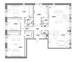 ЖК «Садовые кварталы», планировка 5-комнатной квартиры, 262.22 м²