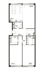ЖК «Садовые кварталы», планировка 3-комнатной квартиры, 150.56 м²