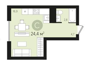 ЖК «Первый квартал», планировка студии, 24.40 м²