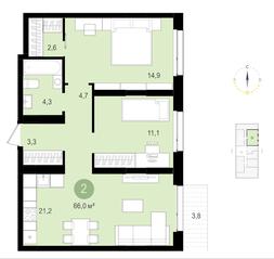 ЖК «Первый квартал», планировка 2-комнатной квартиры, 66.00 м²
