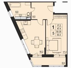 ЖК «River Park», планировка 1-комнатной квартиры, 50.35 м²