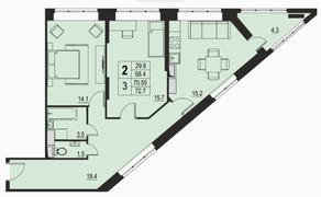ЖК «River Park», планировка 2-комнатной квартиры, 70.55 м²