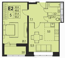 ЖК «River Park», планировка 2-комнатной квартиры, 51.40 м²