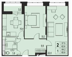 ЖК «River Park», планировка 2-комнатной квартиры, 64.20 м²