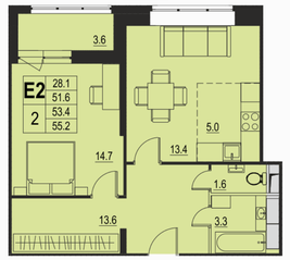 ЖК «River Park», планировка 2-комнатной квартиры, 53.40 м²