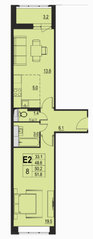 ЖК «River Park», планировка 2-комнатной квартиры, 50.20 м²