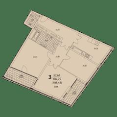ЖК «Prizma», планировка 3-комнатной квартиры, 108.43 м²