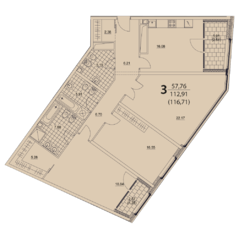 ЖК «Prizma», планировка 3-комнатной квартиры, 116.71 м²