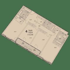 ЖК «Prizma», планировка 4-комнатной квартиры, 122.30 м²