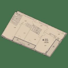 ЖК «Prizma», планировка 4-комнатной квартиры, 148.56 м²