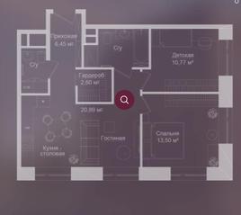 МФК «Долгоруковская, 25», планировка 2-комнатной квартиры, 63.52 м²