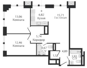 ЖК «Dream Towers», планировка 2-комнатной квартиры, 68.00 м²