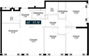 ЖК «Клубный дом Noble», планировка 4-комнатной квартиры, 97.13 м²