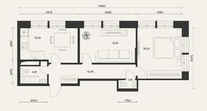 ЖК «Домашний», планировка 2-комнатной квартиры, 66.70 м²