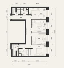 ЖК «Домашний», планировка 3-комнатной квартиры, 74.50 м²