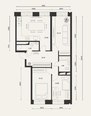 ЖК «Домашний», планировка 3-комнатной квартиры, 83.70 м²
