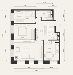 ЖК «Домашний», планировка 3-комнатной квартиры, 92.70 м²