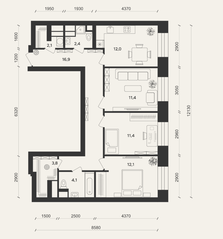 ЖК «Домашний», планировка 3-комнатной квартиры, 75.30 м²