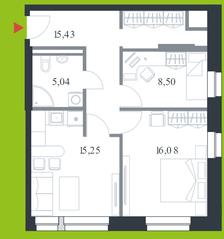 МФК «Citimix», планировка 2-комнатной квартиры, 60.30 м²
